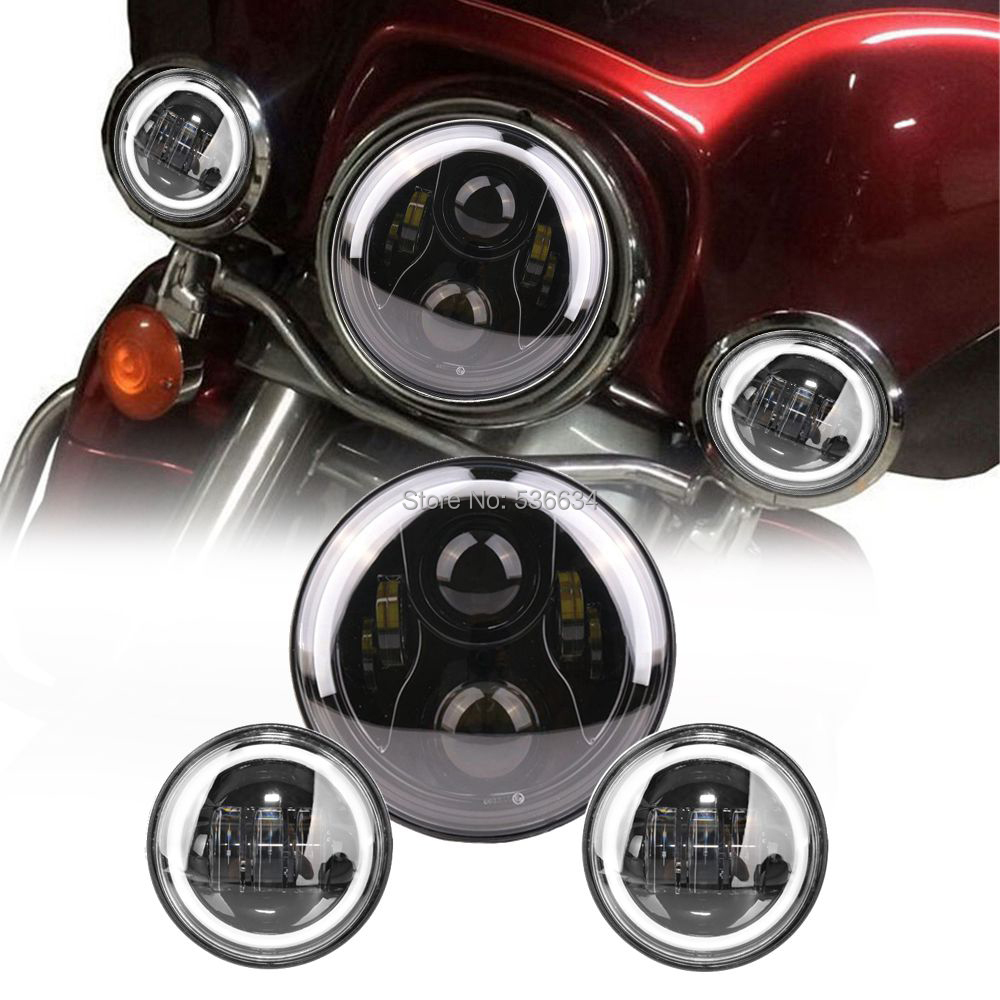 7 Inch For Harley Projector Daymaker LED Headlight With Matching Black 4.5 Inch Passing Lamps Fog Lights For Indian Chieftain