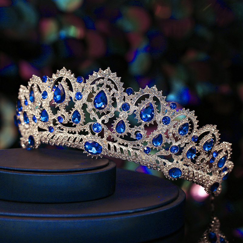 Luxury Big Bridal Crown Red/Blue Crystal Wedding Tiaras Bridal Hair Jewelry Wedding Hair Accessories Tiaras And Crowns Headband