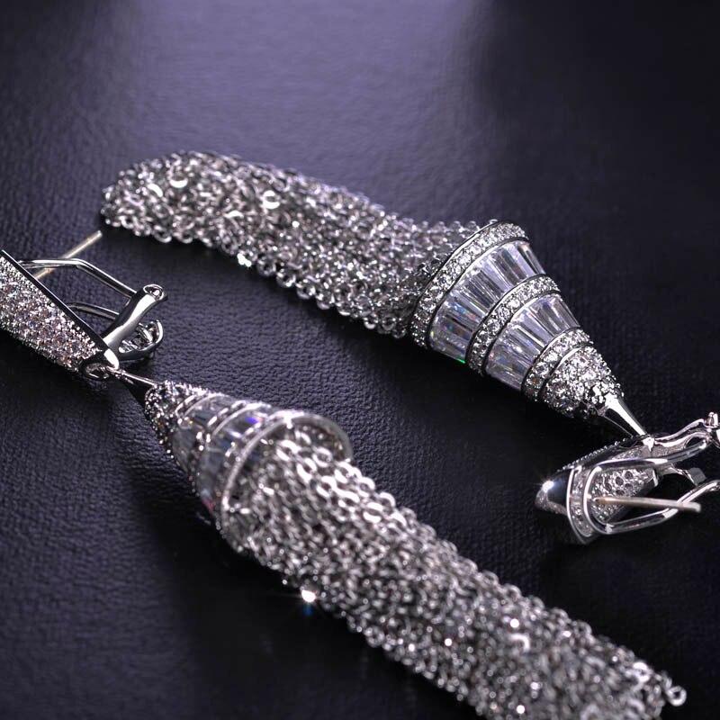 Blucome luxe Micro Pave Zircon boucles d'oreilles pour femmes dame oreille bijoux Long pendentif gland mariée boucle d'oreille - 5