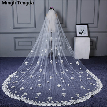 4m*3m Soft Wedding Veils Long Lace Edge Bridal Veils One-Layer voile de mariee Wedding Veil Wedding Accessories Mingli Tengda