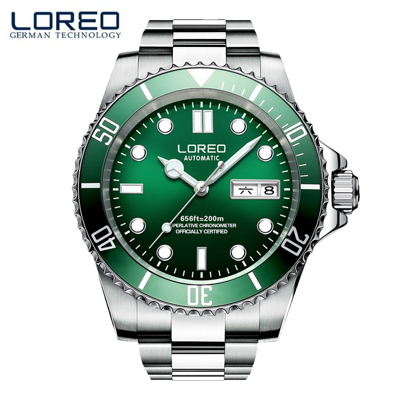 LOREO Simple Fashion High Quality Luminous Automatic Calendar Scratch Resistant Men Business Watch Professional Diver Watch M03 yehuda shinar think like a winner