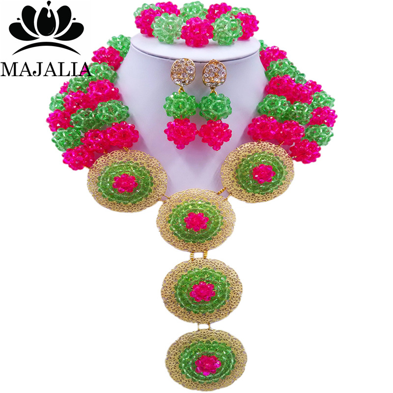 Majalia Fashion Nigeria Wedding African Beads Jewelry Set Green and hot pink Crystal Necklace Bridal Jewelry Sets 3SP021Majalia Fashion Nigeria Wedding African Beads Jewelry Set Green and hot pink Crystal Necklace Bridal Jewelry Sets 3SP021