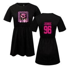 LUCKYFRIDAYF Kpop Summer Blackpink Member Jennie/Rose/Lisa Print Pop Womans dress Cute print Fashion Women Dress Clothes