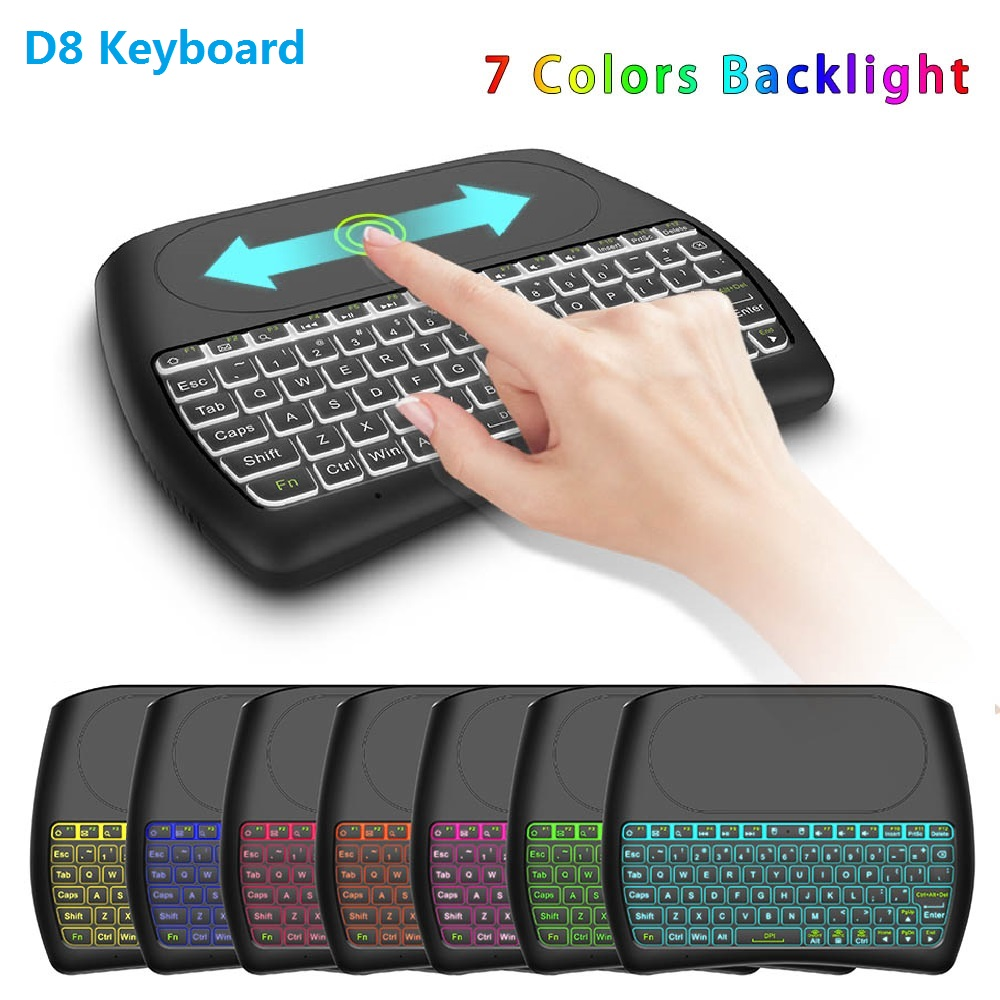 2.4Ghz Wireless Mini Keyboard English Spain Russian Air Mouse Touchpad Controller for Android TV BOX 7 color Backlit D8 Pro(China)