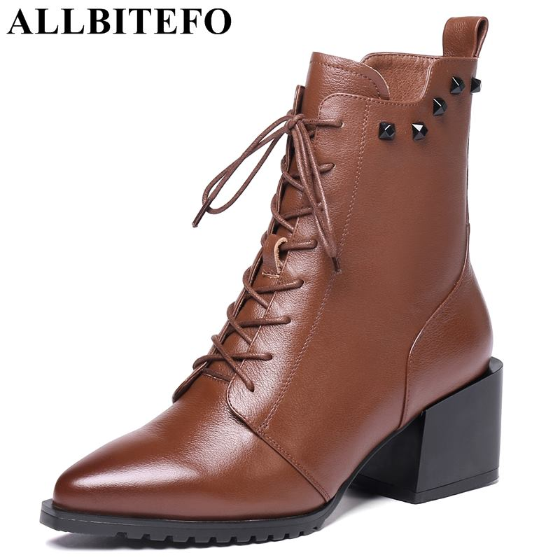 ALLBITEFO size:34-42 genuine leather thick heel women boots fashion brand high heels ankle boots women girls shoes bota de neve allbitefo plus size 34 42 genuine leather pointed toe low heeled women boots fashion brand thick heel ankle boots girls boots