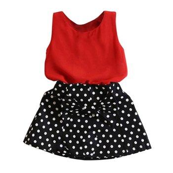 kids Girls Sets Fashion Vest +Pleated Dress 2 PCs Casual Clothes Children Skirt Suit girls conjuntos casuales para niñas