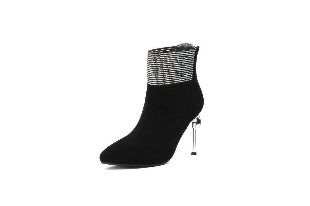 2018 очаровательные девушки из натуральной кожи очень высокий тонкий каблук на молнии с острым носком с цветочным узором Подиумные модели плюс размер ботинок L25