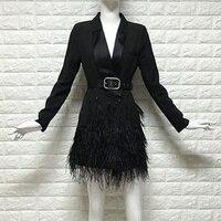 2018 Autumn Women Suit Jacket Fashion Feathers Patchwork Blazer Feminino Belted Slim Black Blazer Dress Ladies Blazers Tuxedo