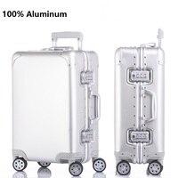 Smooth custom print 100% aluminum suitcase spinner Carry on Cabin Trolley bag 100 aluminium luggage