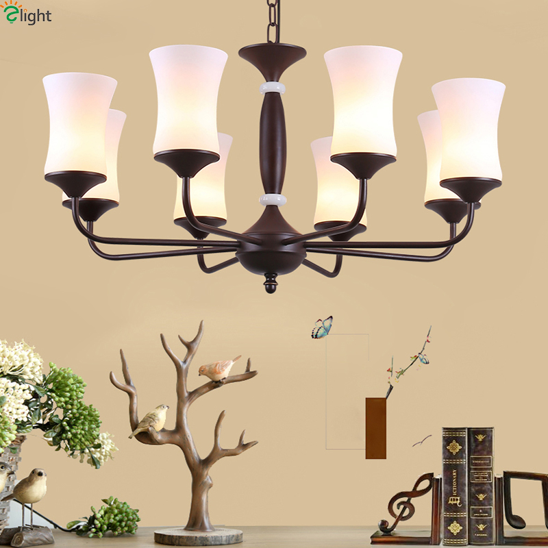 American Retro Metal Led Pendant Chandelier Lights Glass Dining Room Led Chandeliers Lighting Bedroom Led Hanging Light Fixtures new luxury modern crystal chandeliers led living room chandelier lighting fixtures gold plated hanging lights with glass shade
