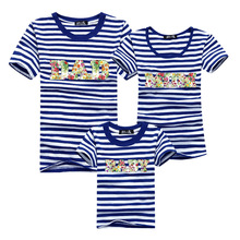 Family Set 2016 Men Striped T Shirt Harajuku Sport Gym Clothing Tshirt Homme Polera Cotton T-shirt Mom Dad Baby Me Kids Clothes