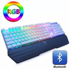 Image 2 - Bluetooth ワイヤレスゲーミングメカニカルキーボード LED RGB バックライト Teclado 抗ゴーストゲーマー電話 ipad PC ロシア語英語