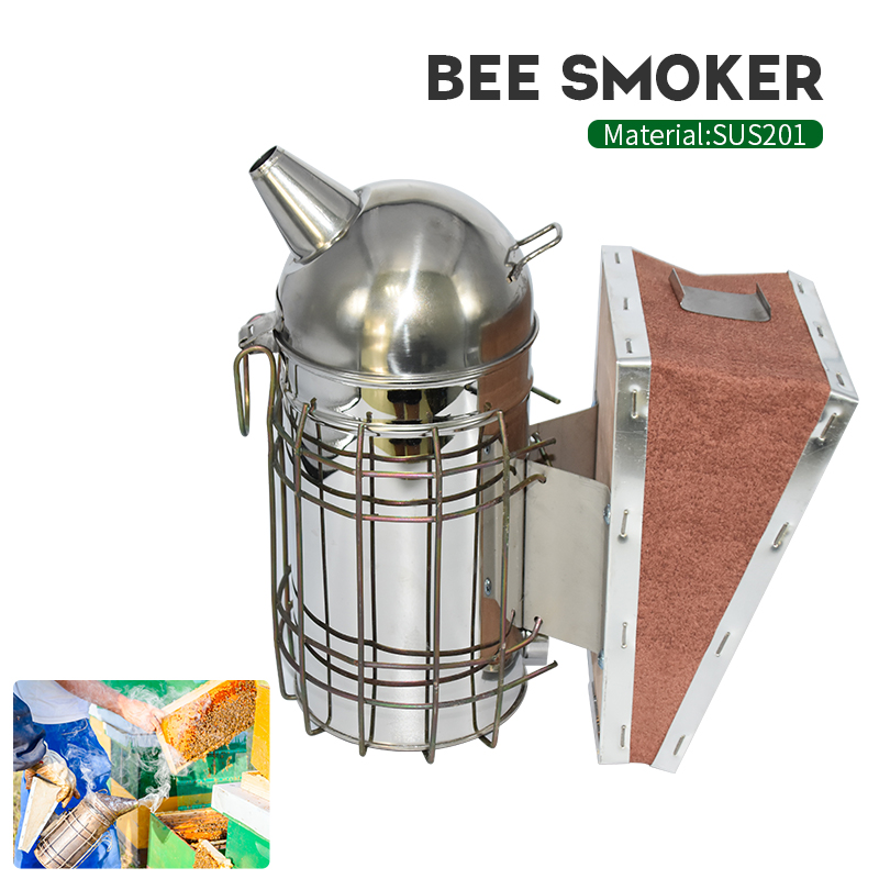 Beekeeping Smoker Stainless Steel Equipment Hive Box Tool Supplies For Beehive Bee Manual Smoke Maker With Hanging Hook Tools