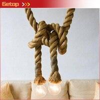 LOFT INDUSTRIAL Toronto Manila 3M Rope Ceiling Lights Chandeliers RUSTIC vintage hemp rope light