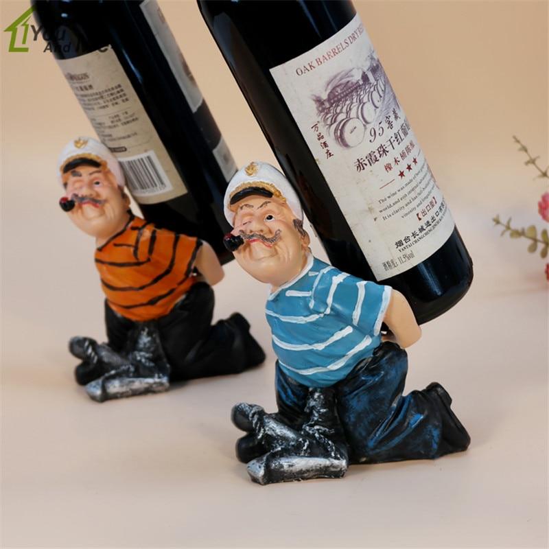 Novelty Resin Smoking Cigarettes Sailor Red Wine Bottle Holder Rack Stand Display Wedding Kichen Wine Bottle