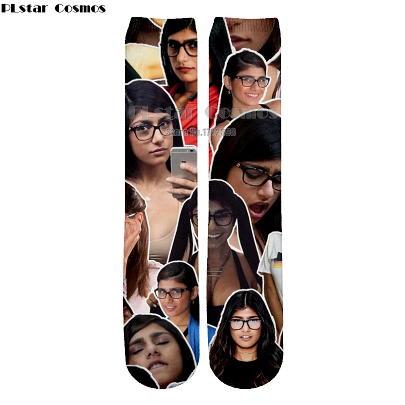 PLstar Cosmos 2018 New Fashion character Printing Socks Men/Women 3d Mia Khalifa Ankle Cotton Sock Unisex Dropshipping
