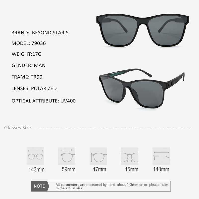BEYONDSTAR nouveau sport hommes lunettes de soleil polarisées carré mâle conduite marron lentille bleu miroir lunettes de pêche TR79036