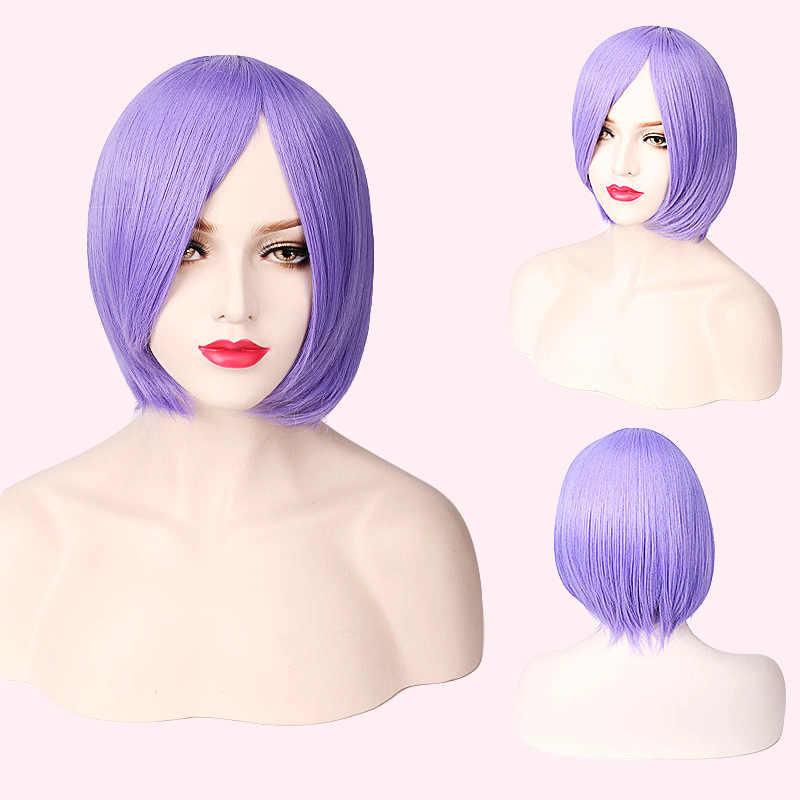 """Ccutoo 14 """"фиолетовый короткий боб прямой высокая температура волокно Токийский Гуль Шу цукияма синтетические волосы Косплей Полный Парики"""