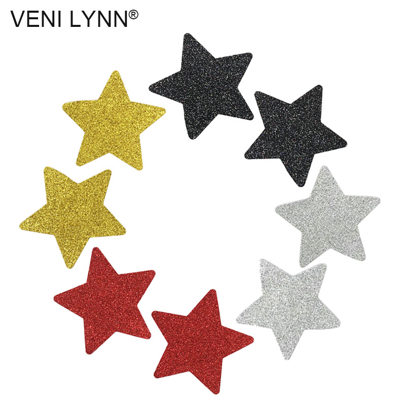 5 Pairs Glitter Disposable Star Nipple Stickers Red Breast Sex Black Petals Silver Flashy Boob Pasties Covers Women Lingerie
