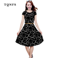 TQNFS Print Floral 50s 60s Empire With Sashes Vintage Dresses 2017 New Style Summer Retro Dress