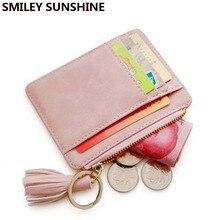 Купить с кэшбэком Nubuck Leather Tassel Mini Women Wallets Vintage Female Small Purses Cute Credit Card Slim Wallets and Purses portomonee walet