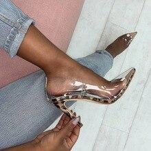 цены на 2019 New Women Pumps Transparent Super High Heels Sexy Pointed Toe Leopard grain Party Shoes For Lady Thin Heels Pumps size 41  в интернет-магазинах