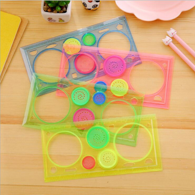 1packs/lot Hollow Colorful Drawing Flower Series Ruler Set  Puzzle Regla Draw Tools For Kids Gift Stationery