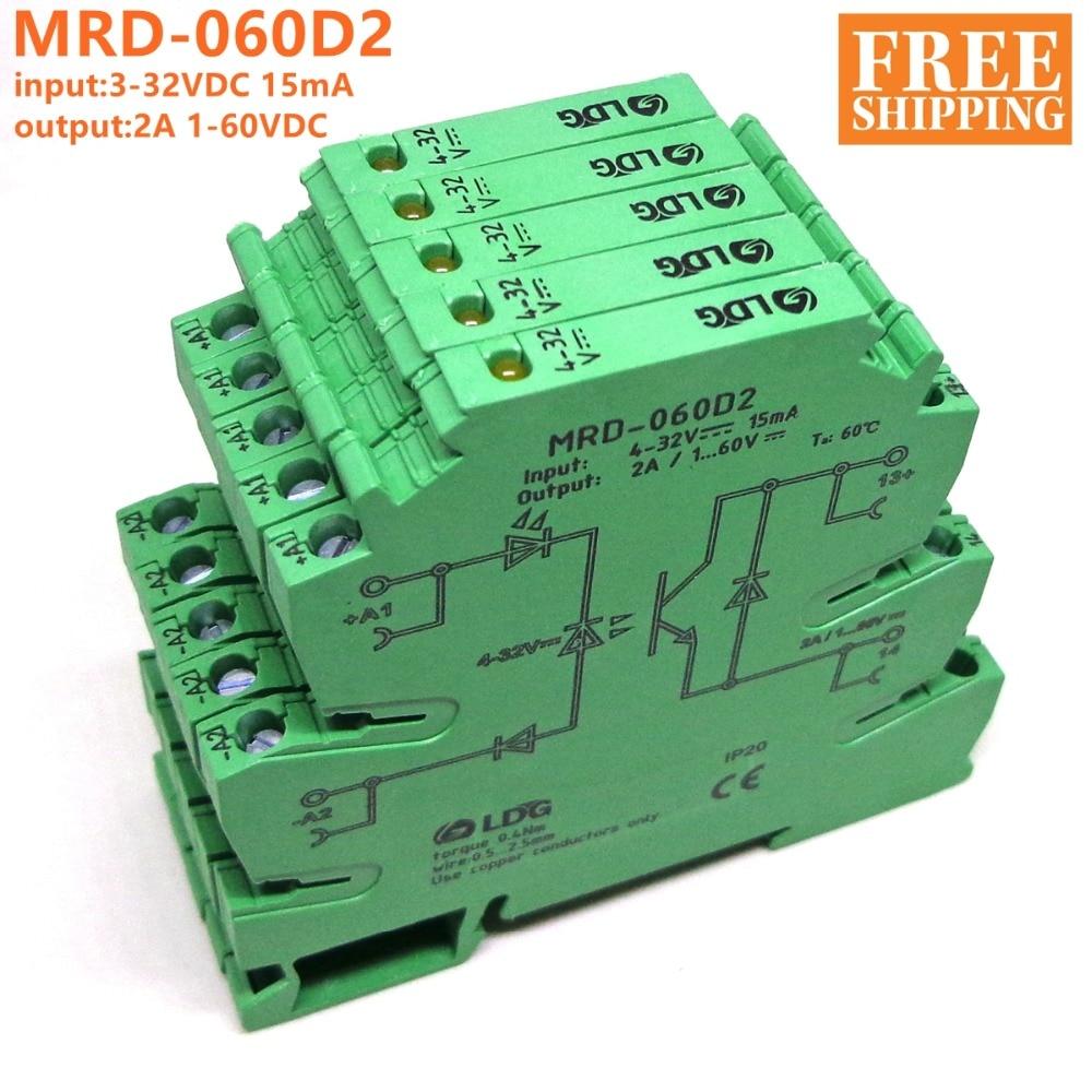 5PCS MRD-060D2 Innovative LED Indication 2A Input: 5V 12V 24V DC SSR Solid Sate Relay Interface DIN Rail Relay Module Switch