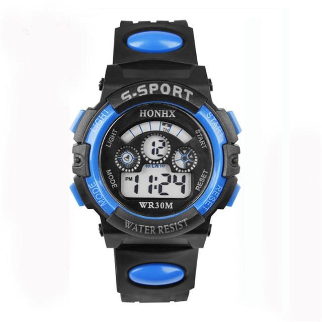 2018 модные Водонепроницаемый Для детей мальчик часы цифровой светодиодный кварц сигнализации Дата спортивные электронные кварцевые наручные часы челнока