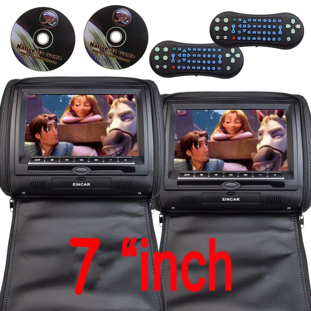 Eincar Car Headrest DVD Player Black pillow dvd player Universal Digital Screen zipper Car Monitor USB FM TV Game IR Remote eincar car 9 inch car dvd pillow headrest two monitor lcd screen usb sd 32 bit game fm ir multimedia player free 2 ir headphones