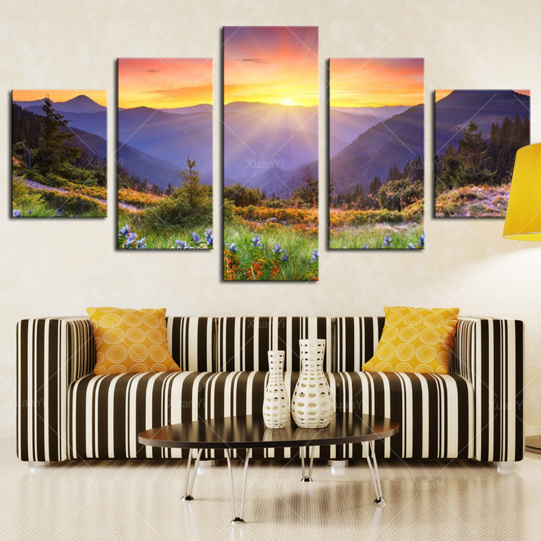 Aliexpress Buy 5 Panel Modern Prints Landscape Mountains Painting Picture Canvas Wall Art Sunset Paintings For Living Room Unframed PR1040 From