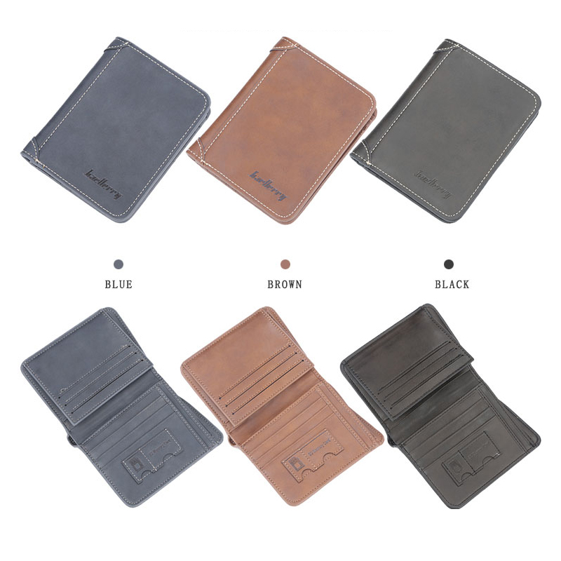 Baellerry Men 3 Color Vintage No Zipper Clip Wallet PU Leather Porta Mini Wallet Coin Pocket Card Photo Holder Vintage Solid Bag in Wallets from Luggage Bags