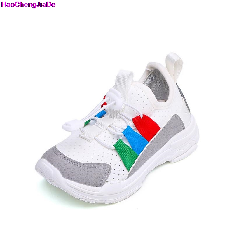 HaoChengJiaDe Hot Kids Sport Running Shoes White Sneakers Boys Girls Breathable Air Mesh Children Tennis Basketball Pink Black