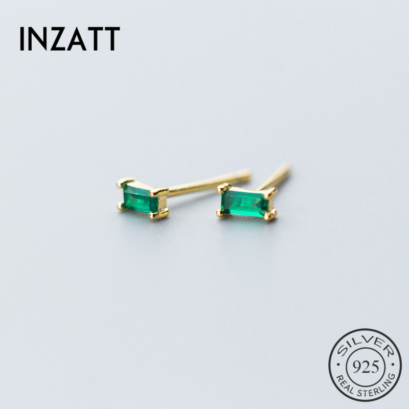 INZATT Minimalist Geometric Square Green Zircon Stud Earrings Charm 925 Sterling Silver Gold Color For Women Fine Jewelry GIft