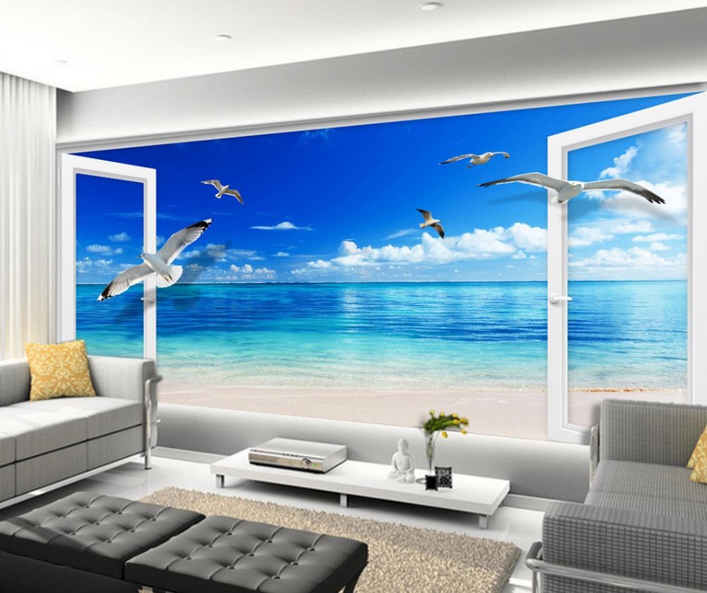 Mural 3d wallpaper 3d wall papers for tv backdrop blue sky for Wallpapering a wall