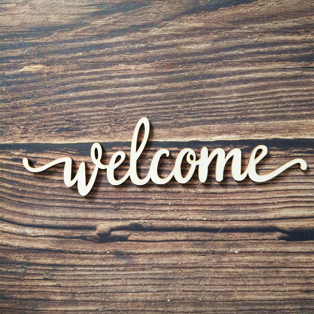 Us 40 10pcs Laser Cut Unfinished Wood Welcome Script Word Sign Wooden Words Sign Art Rustic Cursive Word Room Decoration Wall Hanging In Figurines