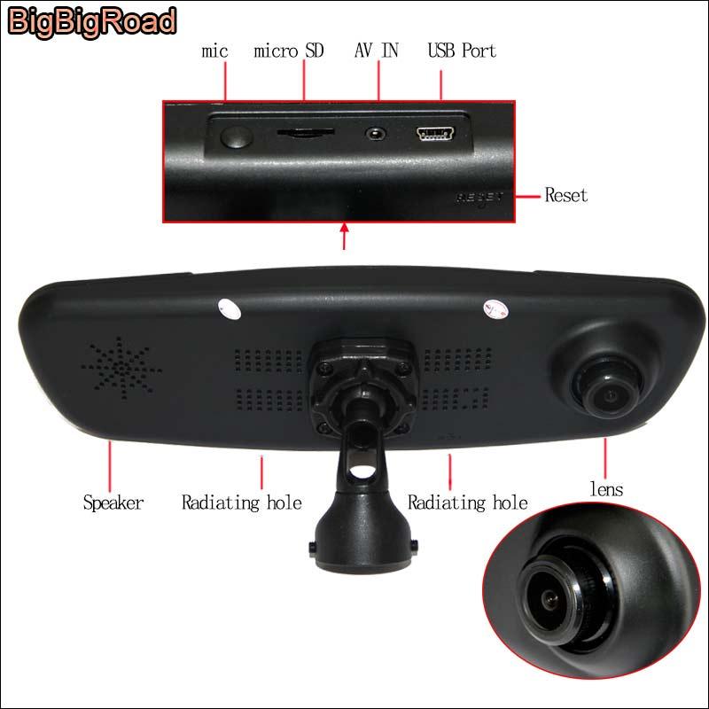 BigBigRoad For Polo Car Mirror DVR Camera Blue Screen Dual Lens Video Recorder Dash Cam with Original Bracket FHD 1080P цена