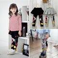 Novos Conjuntos de Roupas Meninas Bonitos Do Bebê Quente de Primavera Outono Calças Leggings Saia preto Dos Desenhos Animados Minnie Beijo Magro 2 3 4 5 6 7 Anos