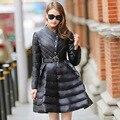 High-end Marca de Moda Jaqueta de Inverno Para Baixo Mulheres Longa Saia-estilo Partido Cinto Jaqueta Casaco De Pele Quente mulheres Parkas T448