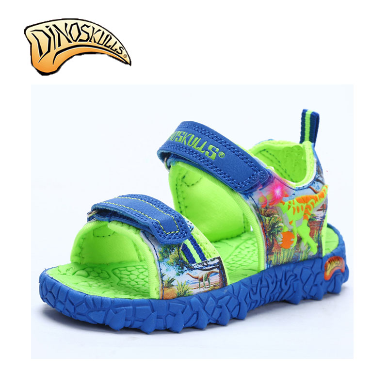 Dinoskulls Boys Flat Closed Toed Sandals Sandals Kids Shoes Luminous Tenis Infantil Boys LED Beach Sandals 3D Dinosaur Sandals