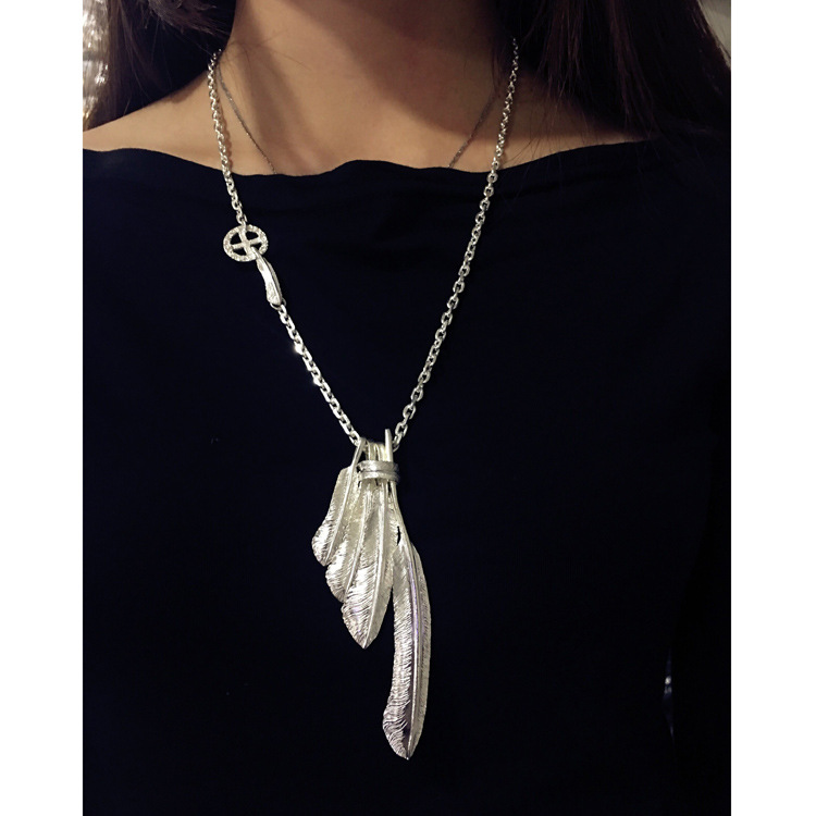Starfield S925 Sterling Silver Retro Thai Silver Vintage Style Men Women Takahashi Goro Feather Eagle Necklace Set Sweater Chain vintage beads feather leaf sweater chain and a pair of earrings for women