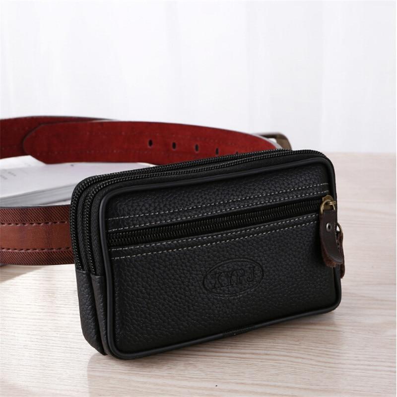 Mobile Phone Waist Bag For Men Testificate Belt Bag Leather Coin Purse Strap Pocket Cellphone Bag Clutch Bag Belt Waist Packs
