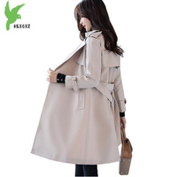 Temperament Women Windbreaker Spring Autumn Outerwear Fashion Casual Tops Solid Color Slim Trench Coats Medium Length