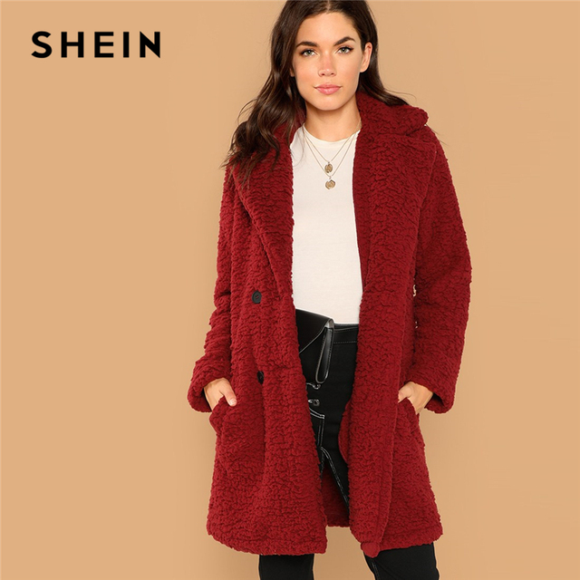 bb111d0b0c SHEIN Burgundy Casual Solid Notched Pocket Double Button Teddy Coat Winter  Thermal Office Lady Fashion Women