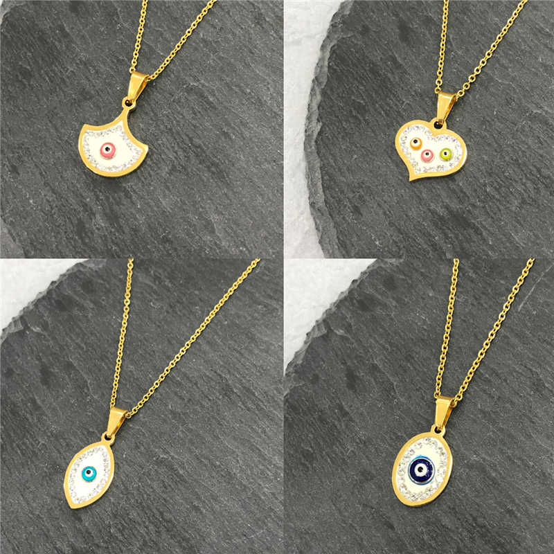 Gold Evil Turkish Eye Necklace For Women Girl Heart Choker Short Chain Blue Crystal Minimalist Necklace Lucky Jewelry Mama Day