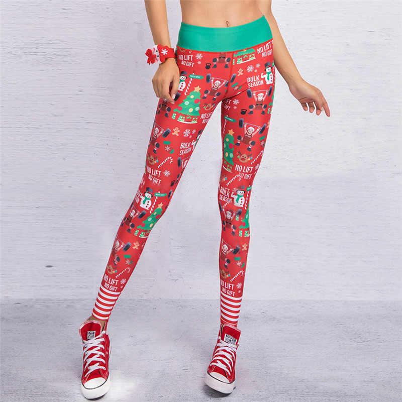 13 Colors 2018 Christmas Printing Leggings Sexy Hip Elastic High Waist Push Up Legging Breathable Merry Christmas Pants Leggings