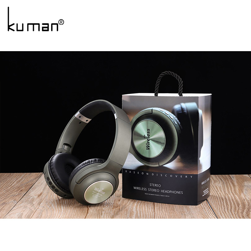 Kuman Sports Headsets Stereo Wireless Headphones HIFI Bluetooth Earphone with 3.5mm Conversion Line For Phone PC Gaming YL-HH8