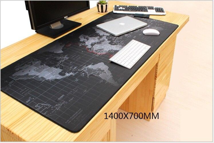 WESAPPA 140 cm x 70 cm carte du monde tapis de souris Super grand caoutchouc verrouillage bord bureau coussin Table clavier tapis de jeu tapis de souris
