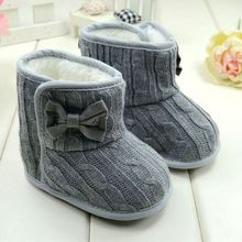 Baby Girl Knit Bowknot Faux Fleece Snow Boot Soft Sole Kids Warm Wool Baby Shoes 3