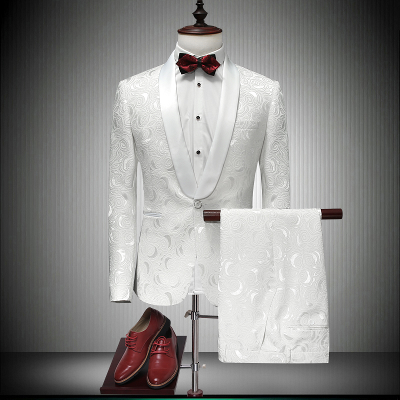 Suits Men Designers 2018 Latest Coat Pant Designs White Wedding Tuxedos For Men Slim Fit Mens Printed Suits Singer Jaket 86600